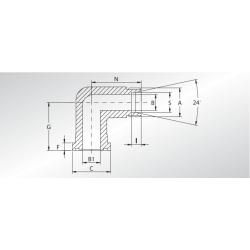 Adapter kątowy 90° Metryczny WFG