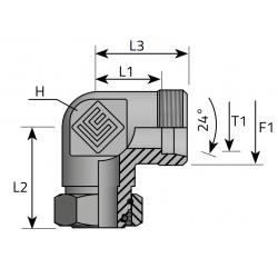 GZ Metryczny/ GW Metryczny Złącze kątowe z nakrętką nastawną 90°