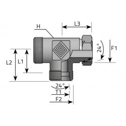 GZ Metryczny/GZ Metryczny/GW Metryczny Trójnik niesymetryczny z nakrętką nastawną