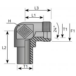 GZ Metryczne/Spaw lub pod nakrętkę Złącze kątowe 90°