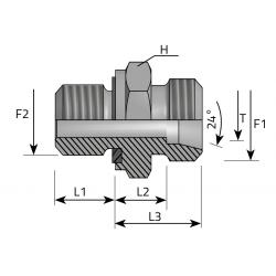 Przyłącze Proste Redukcyjne z Uszczelką Metryczny-Metryczny AME.LS.MM EL