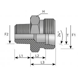 GZ Metryczny/GZ Metryczny stożkowy Przyłącze proste redukcyjne