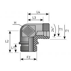 GZ Metryczny/GZ BSPP w korpus Przyłącze kątowe  90°