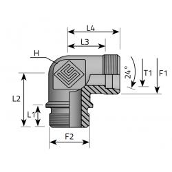 GZ Metryczny/GZ Metryczny w korpus Przyłącze kątowe 90°