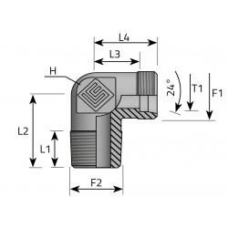 GZ Metryczny/GZ BSPT stożkowy Przyłącze kątowe 90°