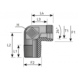 GZ Metryczny/GZ NPT stożkowy Przyłącze kątowe 90°