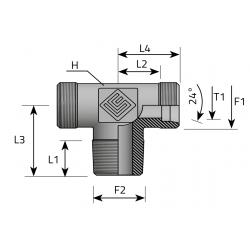 GZ Metryczny/GZ Metryczny/GZ BSPT stożkowy Trójnik symetryczny