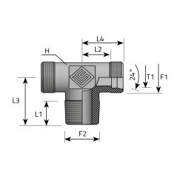 USIT GZ Metryczny/GZ NPTT/GZ Metryczny Trójnik symetryczny