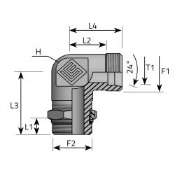 GZ Metryczny/GZ BSPP nakr. kontr. Przyłącze kątowe 90°