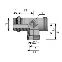 GZ UNF/GZ Metryczny/GZ Metryczny Trójnik niesymetryczny