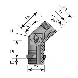 GZ Metryczny/GZ BSPP nakr. kontr. Przyłącze kątowe 45°