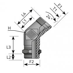 Przyłącze kątowe 45 Metryczny-Metryczny QME LS MOM