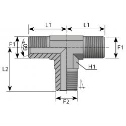GZ BSPP/GZ BSPP/GZ NPT Trójnik symetryczny