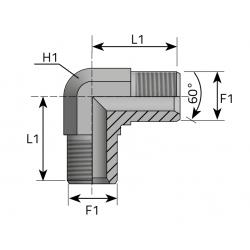 GZ Metryczny 60°/GZ Metryczny 60° Przyłącze kątowe 90°