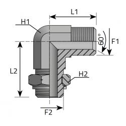 GZ Metryczny z nakrętka nastawną/GZ Metryczny Przyłącze kątowe 90°