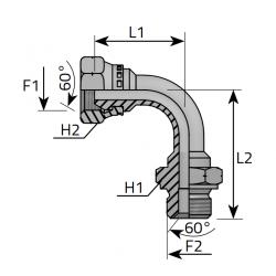 GZ Metryczny/GW Metryczny Złącze kątowe 90°