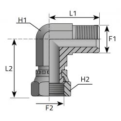 GZ Metryczny z nakrętką/GW Metryczny Złącze kątowe 90°