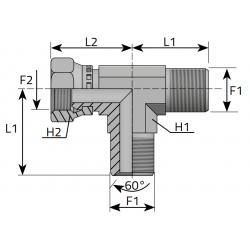Trójnik niesymetryczny GZ GW Metryczny TMM....FGM..B