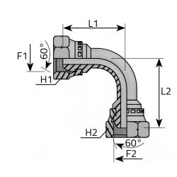GW Metryczny/GW Metryczny Złącze kątowe 90°