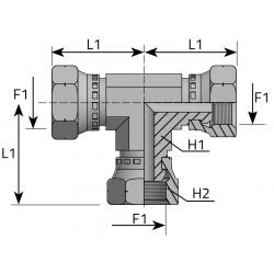 GW Metryczny/GW Metryczny/GW Metryczny Trójnik symetryczny stożek 60°