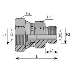 GW JIC/GZ Metryczny stożkowy z nakrętką Przyłącze proste