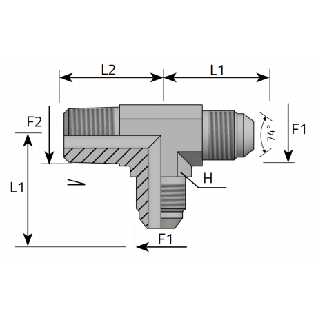 GZ JIC/GZ JIC/GZ BSPT Trójnik niesymetryczny