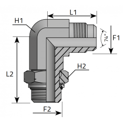 Przyłącze kątowe 90° z nakrętką JIC-BSPP LMJ MOM R