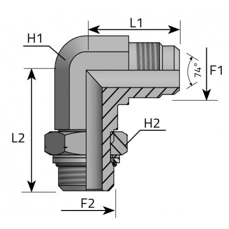 GZ JIC z nakrętką/GZ Metryczny Przyłącze kątowe 90°