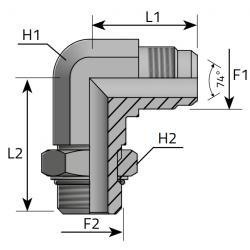 Przyłącze kątowe 90° z nakrętką JIC-Metryczny LMJ MOM