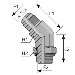 GZ JIC z nakrętką/GZ BSPP Przyłącze kątowe 45°