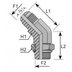 GZ JIC z nakrętką/GZ Metryczny Przyłącze kątowe 45°