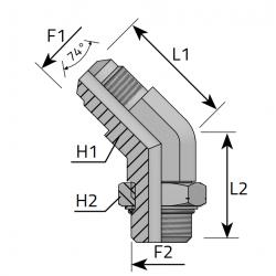 Przyłącze kątowe 45° z nakrętką JIC-Metryczny QMJ MOM