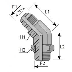 Przyłącze kątowe 45° z nakrętką JIC-UNF QMJ MOU