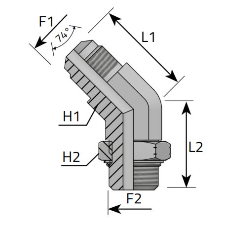 GZ JIC z nakrętką/GZ UNF Przyłącze kątowe 45°