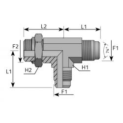 Trójnik niesymetryczny z nakrętką JIC-Metryczny TMJ MOM R B
