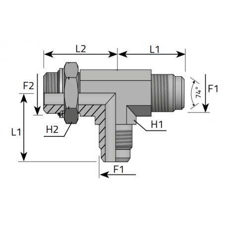 GZ JIC z nakrętką/GZ JIC/GZ Metryczny Trójnik niesymetryczny
