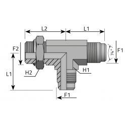 Trójnik niesymetryczny z nakrętką JIC-Metryczny TMJ MOM B