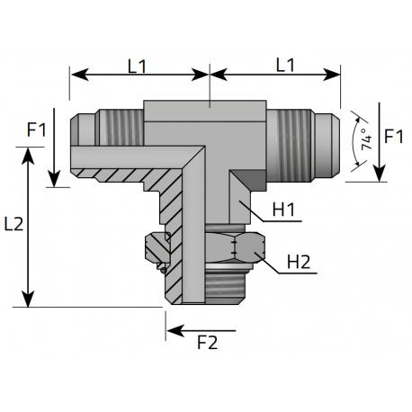 GZ JIC z nakrętką/GZ JIC/GZ UNF Trójnik symetryczny