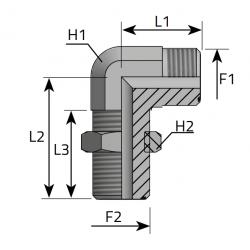 Złącze kątowe 90° grodziowe LPPMO
