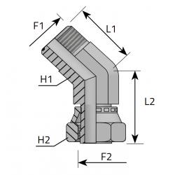 Złącze kątowe 45° GZ GW ORFS QMO. FGO