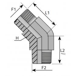 Złącze kątowe 45° ORFS-NPT QMO MN