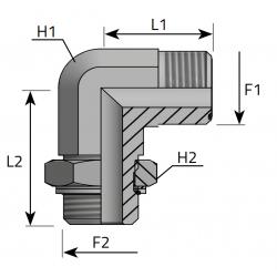 Przyłącze kątowe 90° z nakrętką ORFS-BSPP LMO MOG