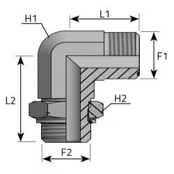 Przyłącze kątowe 90° z nakrętką ORFS-Metryczny LMO MOM R