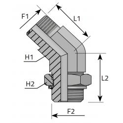 Przyłącze kątowe 45° z nakrętką ORFS-BSPP QMO MOG