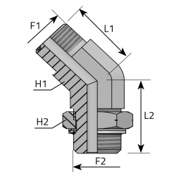 Przyłącze kątowe 45° z nakrętką ORFS-Metryczny QMO MOM R