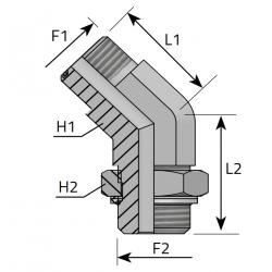 Przyłącze kątowe 45° z nakrętką ORFS-UNF QMO MOU