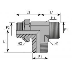 Trójnik niesymetryczny z nakrętką ORFS-Metryczny TMO MOM R B