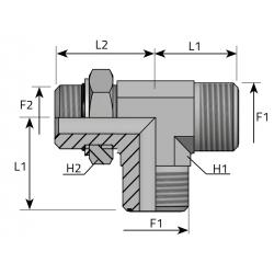 Trójnik niesymetryczny z nakrętką ORFS-UNF TMO MOU B