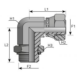 Przyłącze kątowe 90° z nakrętką GZ Metryczny GW ORFS LFGO MOM R