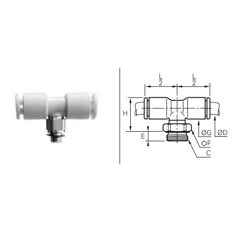 Przyłącze wtykowe trójnikowe ET metryczne/GZ BSPP O-RING
